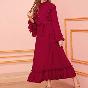 Mock Neck Ruffle Peasant Dress with Bell Sleeves